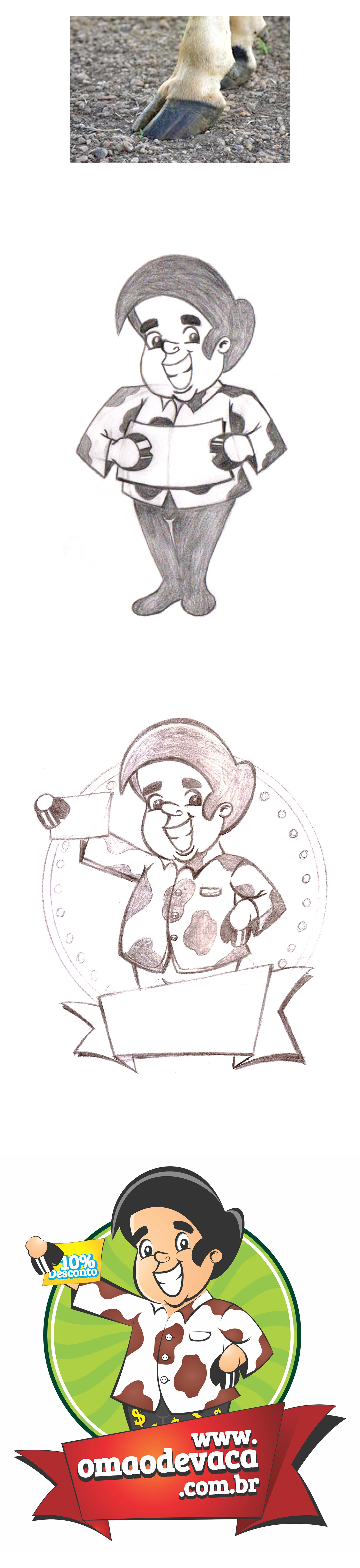 Conceito Mascote o mao de vaca